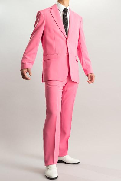 カラースーツ シングル 2つボタンサイドベンツ ショッキングピンク ノータックパンツモデル