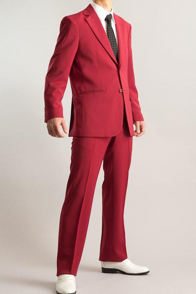 カラースーツ シングル 2つボタンサイドベンツ ワインレッド ノータックパンツモデル