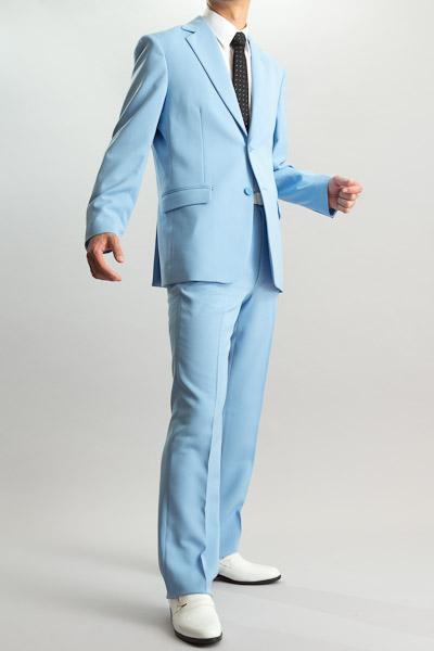カラースーツ シングル 2つボタンサイドベンツ ライトブルー ノータックパンツモデル