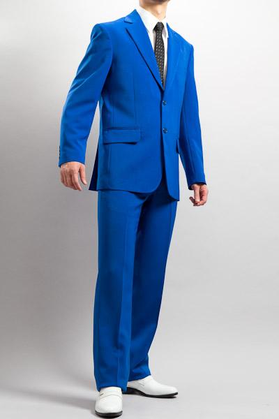 カラースーツ シングル 2つボタンサイドベンツ ブルー ノータックパンツモデル
