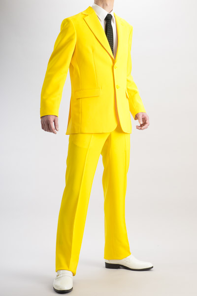 カラースーツ シングル2つボタンサイドベンツ イエロー ノータックパンツモデル