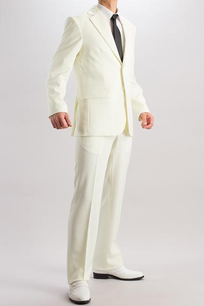 カラースーツ シングル 2つボタンサイドベンツ アイボリー ノータックパンツモデル