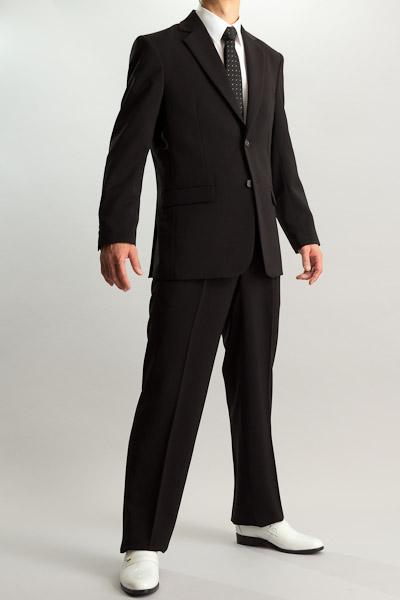 カラースーツ シングル 2つボタンサイドベンツ ブラック 2タックパンツモデル