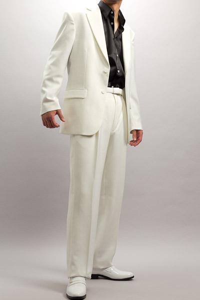 カラースーツ シングル 2つボタンサイドベンツ ホワイト 2タックパンツモデル