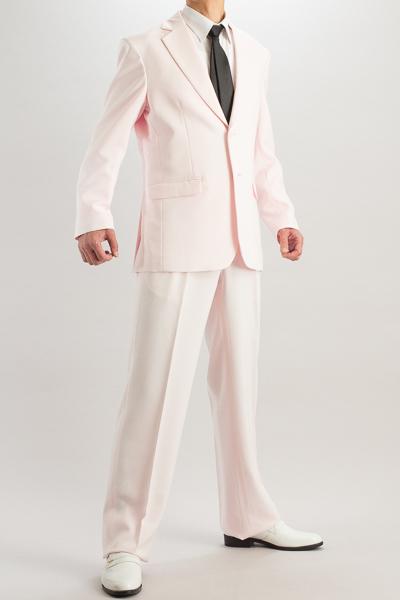 カラースーツ シングル 2つボタンサイドベンツ ローズピンク 2タックパンツモデル