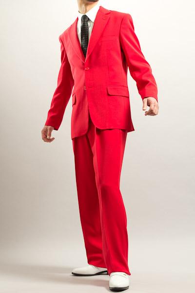 カラースーツ シングル 2つボタンサイドベンツ レッド 2タックパンツモデル