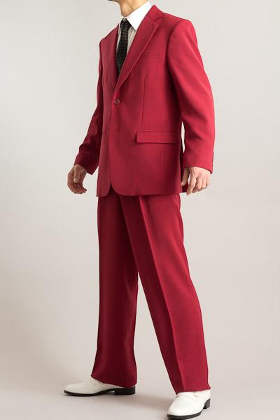 カラースーツ シングル 2つボタンサイドベンツ ワインレッド 2タックパンツモデル
