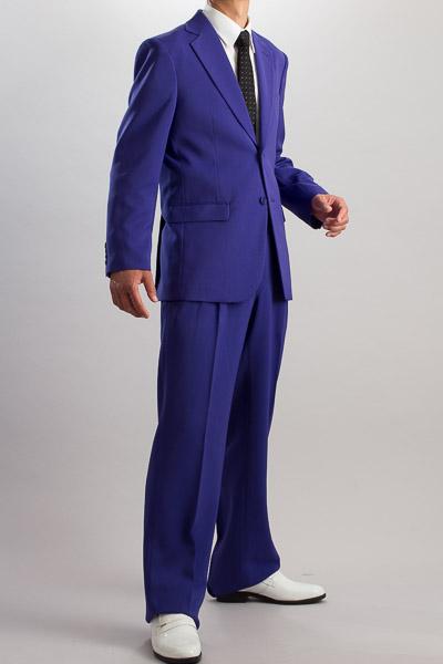 カラースーツ シングル 2つボタンサイドベンツ パープル 2タックパンツモデル