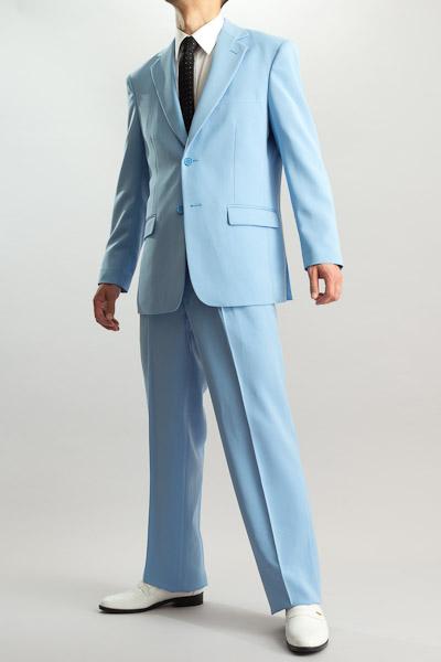 カラースーツ シングル 2つボタンサイドベンツ ライトブルー 2タックパンツモデル