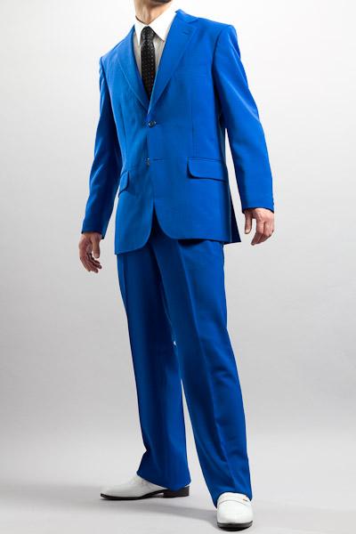 カラースーツ シングル 2つボタンサイドベンツ ブルー 2タックパンツモデル