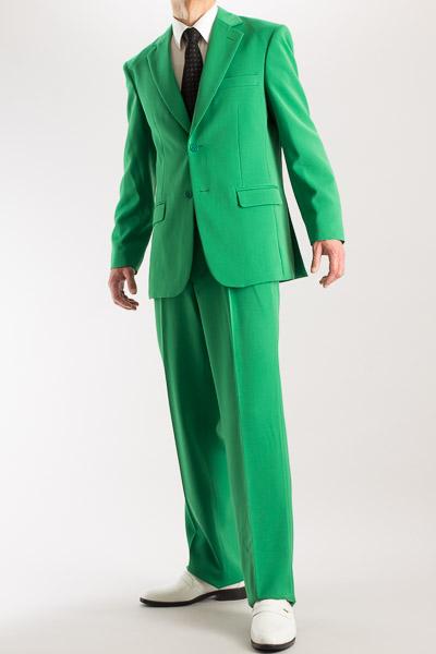 カラースーツ シングル 2つボタンサイドベンツ グリーン 2タックパンツモデル