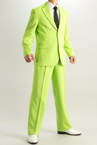 カラースーツ シングル 2つボタンサイドベンツ ライトグリーン 2タックパンツモデル