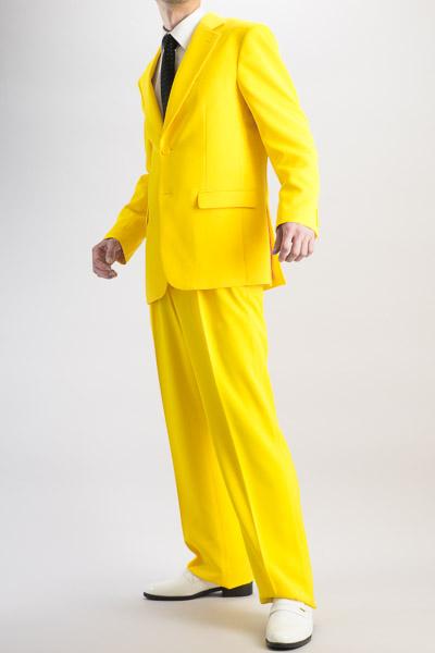 カラースーツ シングル 2つボタンサイドベンツ イエロー 2タックパンツモデル