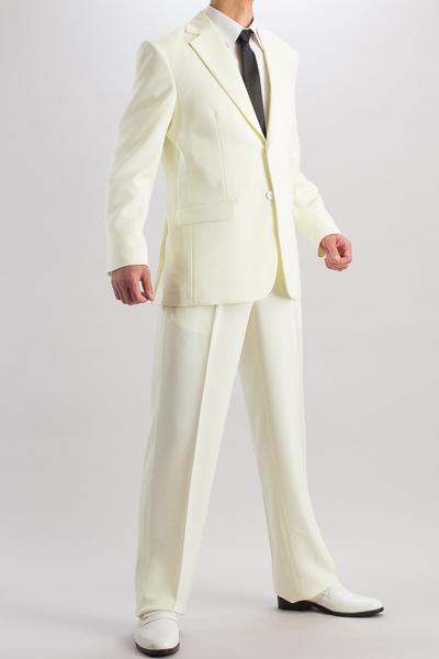 カラースーツ シングル 2つボタンサイドベンツ アイボリー 2タックパンツモデル
