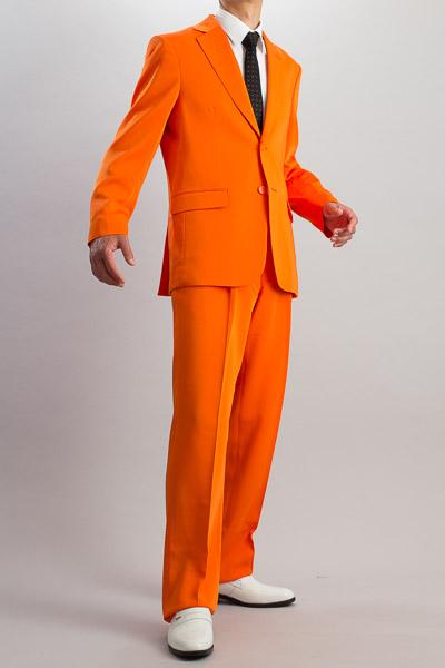 カラースーツ シングル 2つボタンサイドベンツ オレンジ 2タックパンツモデル