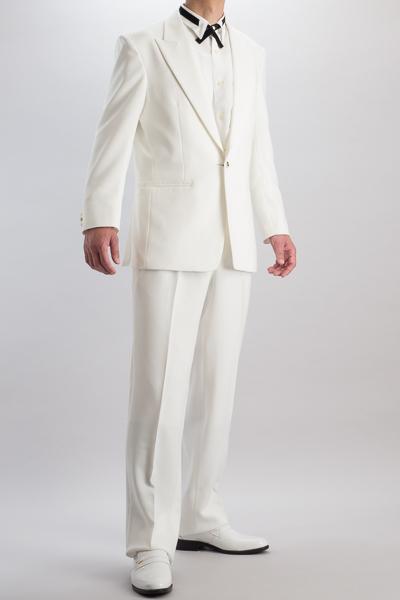 ピークドラペル シングル 1つボタンスーツ サイドベンツ ホワイト 2タックパンツモデル