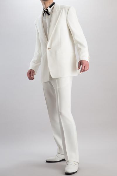シングル1つボタン白スーツ