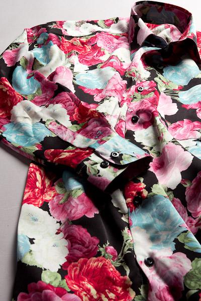 バラ柄シャツ #4n563 ベースカラーブラック