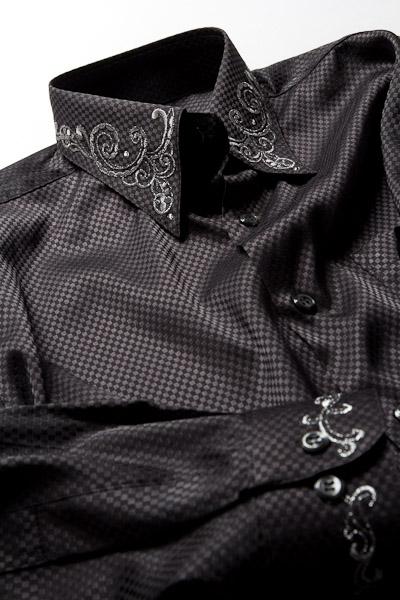 ダイスチェックシャツ 襟刺繍 ブラック