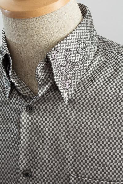 ダイスチェックシャツ 襟刺繍 グレー