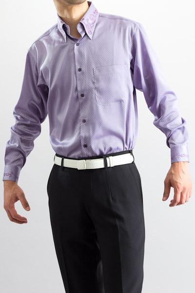 ダイスチェックシャツ 襟刺繍 ラベンダー