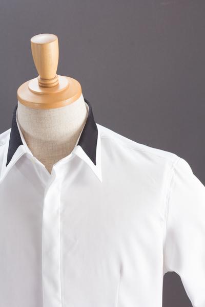 デザインカラー比翼シャツ #110  ホワイト