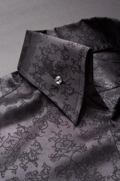 オープンカラーシャツ草柄 #708 ブラック