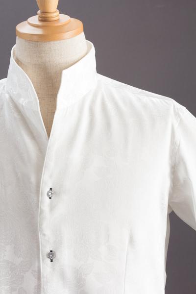 オープンスタンドカラー薔薇柄シャツ #709 ホワイト