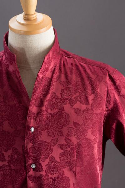 オープンスタンドカラー薔薇柄シャツ #950 ワイン