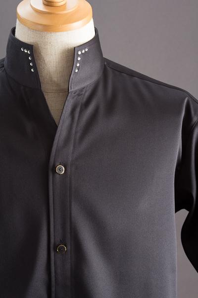 スタンドカラーシャツ オープンタイプスワロフスキー #005 ブラック