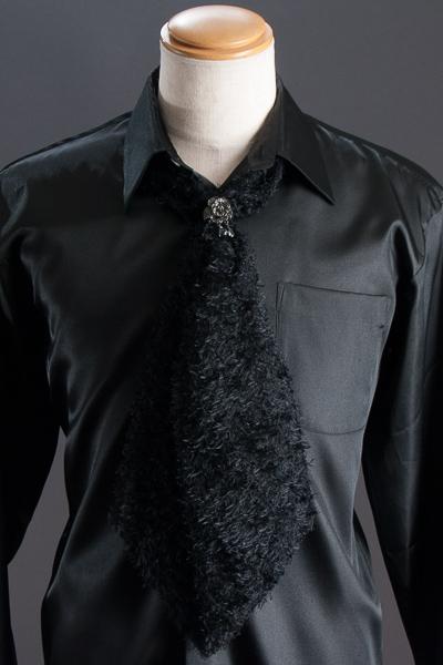 スカーフタイ リング付 ブラック #7406