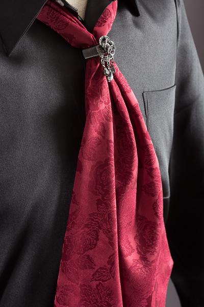 スカーフタイ リング付 バラ柄 #7802 ワイン