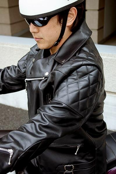 UKパッディングダブルライダースジャケット ブラック