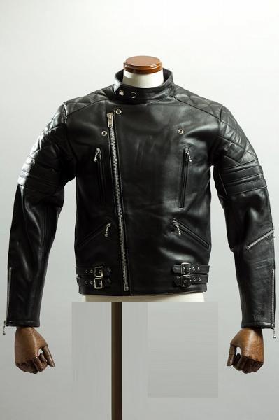 UKパッディングライダースジャケット スタンドカラータイプ ブラック