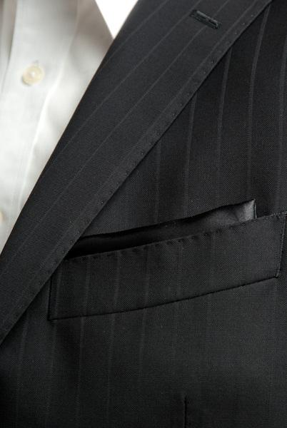 サテンポケットチーフ 37色 ブラック #01