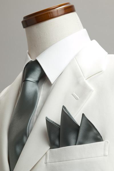 サテンポケットチーフ 37色 グレー #04