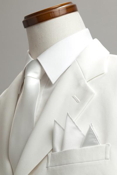 サテンポケットチーフ 37色 パールホワイト #06