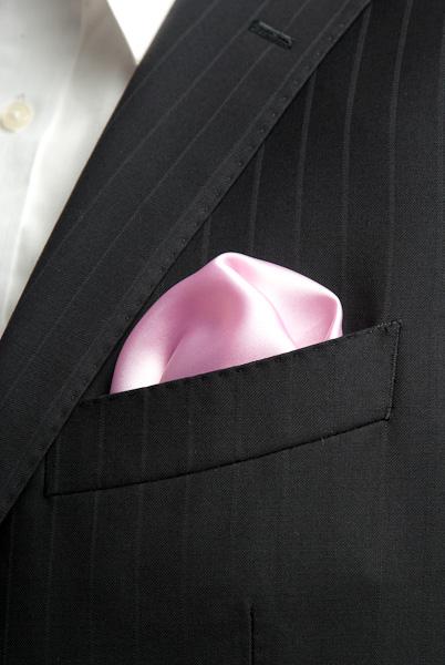 サテンポケットチーフ 37色 ローズピンク #07