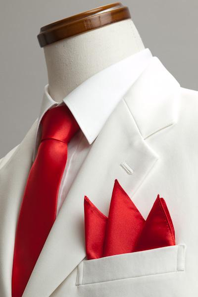サテンポケットチーフ 37色 イタリアンレッド #10