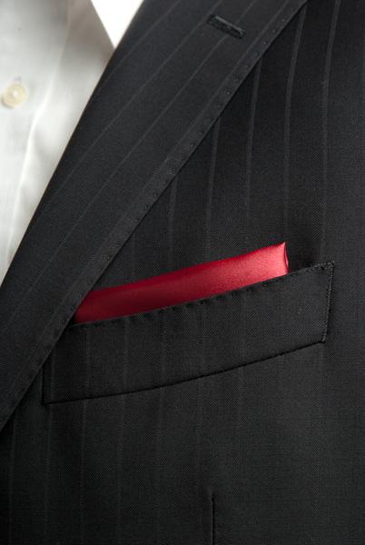 サテンポケットチーフ 37色 ワインレッド #11
