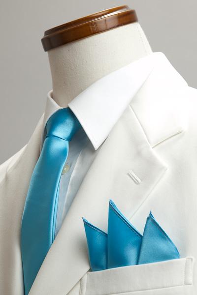 サテンポケットチーフ 37色 マリンブルー #17