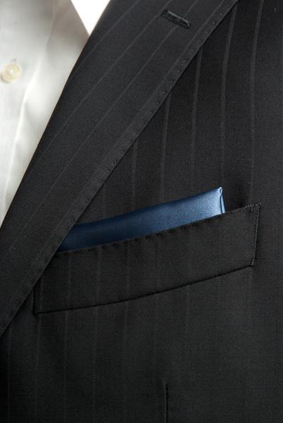 サテンポケットチーフ 37色 インディゴブルー #19