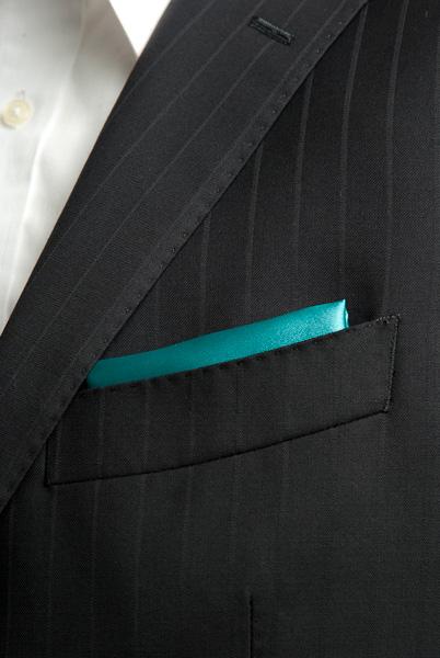 サテンポケットチーフ 37色 エメラルドグリーン #20