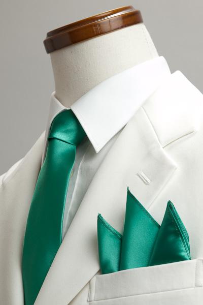 サテンポケットチーフ 37色 グリーン #21