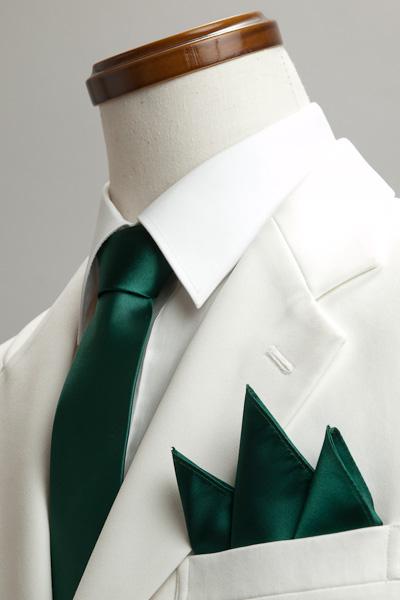 サテンポケットチーフ 37色 モスグリーン #22
