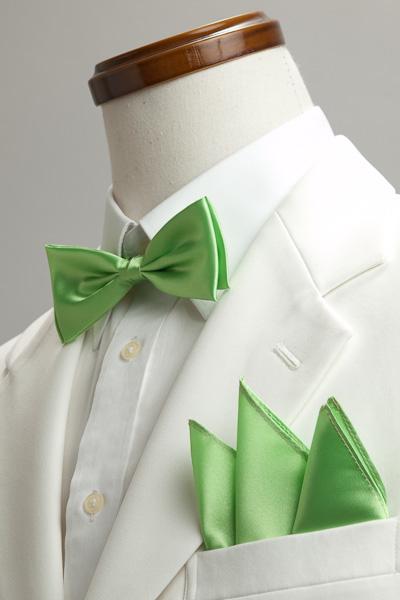 サテンポケットチーフ 37色 アップルグリーン #23