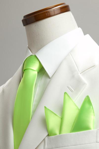 サテンポケットチーフ 37色 ライムグリーン #24