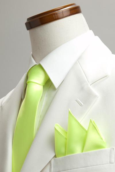 サテンポケットチーフ 37色 イエローグリーン #25