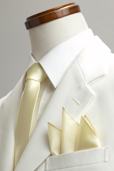 サテンポケットチーフ 37色 クリームイエロー #27