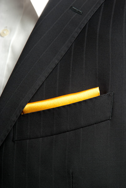 サテンポケットチーフ 37色 ゴールデンオレンジ #28